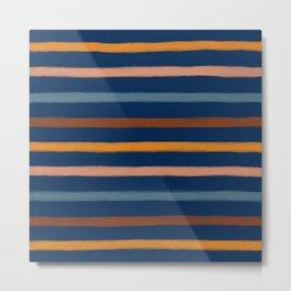 Modern Blue and Brown Hand-Painted Stripe Pattern Metal Print