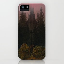 Caspar David Friedrich - Cross and cathedral in the mountains (1812) iPhone Case
