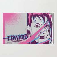 tim shumate Area & Throw Rugs featuring Tim Burton's Edward Scissorhands by Luis Urrutia