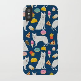 White Shepherd dog breed White German Shepherd junk food french fries donuts pet friendly pet art iPhone Case
