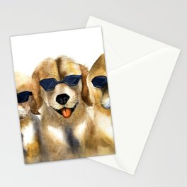 Yellow dogs  in funny glasses Stationery Cards