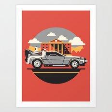 Back to the Future DeLorean Postcard Design Art Print
