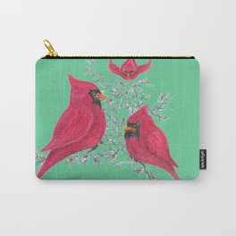 Three Cardinals And Berries Carry-All Pouch