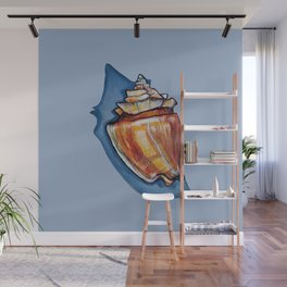 Shell Two in Blue Wall Mural