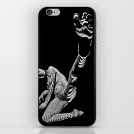 8416 BW Zebra Striped Art Nude Woman Foot Up Toes Spread iPhone Skin