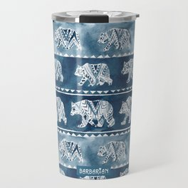 BEAR SPIRIT Indigo Watercolor California Bears Pattern Travel Mug