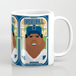 Baseball Blue Pinstripes - Rhubarb Pitchbatter - Hayes version Coffee Mug