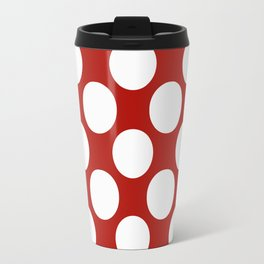 White & Red Navy Polkadot Pattern Travel Mug