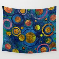 luigi Wall Tapestries featuring Full of Golden Dots - color variation by Klara Acel