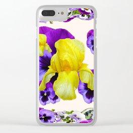 WHITE PANSY & IRIS  GARDEN ART DESIGN Clear iPhone Case