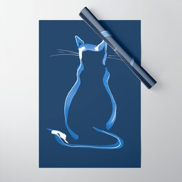 Sitting Cat from behind in Blue Wrapping Paper