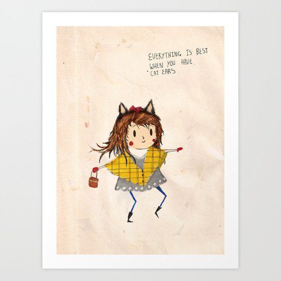 Cat ears Art Print