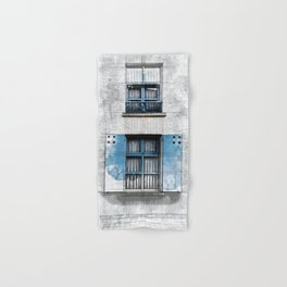 Architect Drawing of Blue Wooden Windows Hand & Bath Towel
