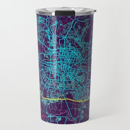Astana Neon City Map, Astana Minimalist City Map Art Print Travel Mug