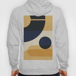 4-507-3 Blue Orange, Bauhaus Style Art, Abstract Boho art decor Hoody