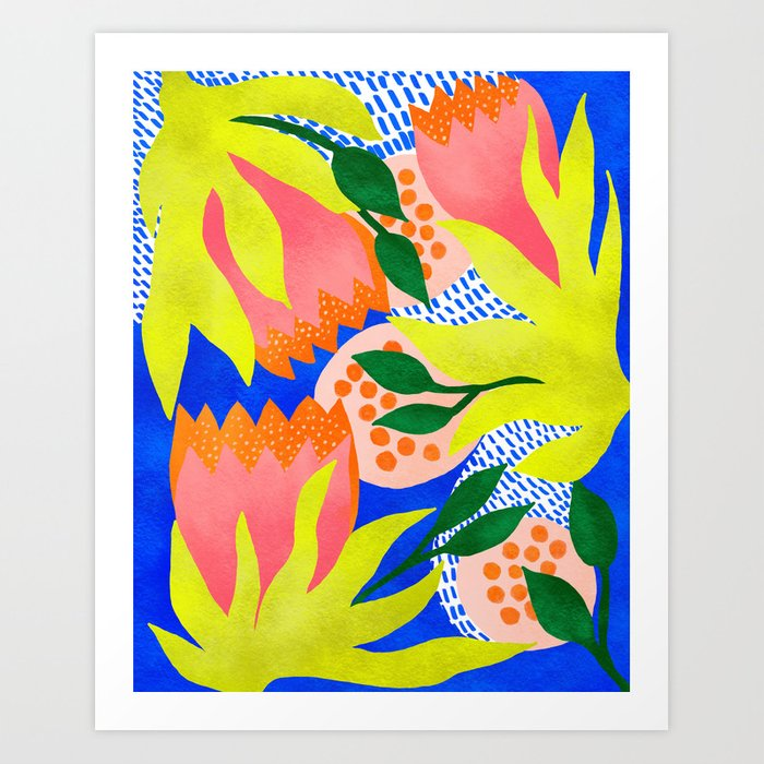 Bold Flower Pattern Blue Background Art Print