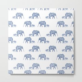 Blue elephant mother and baby Metal Print