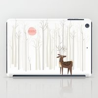 wood iPad Cases featuring Reindeer of the Silver Wood by Poppy & Red