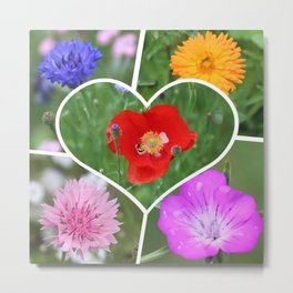 My Heart is Filled with Flowers Photo Collage Metal Print
