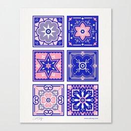 Talavera Mexican Tile – Pink & Periwinkle Palette Canvas Print