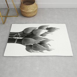 Black and White Lotus Buds Rug