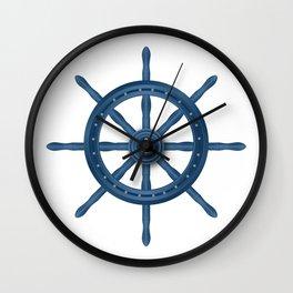 Ship Wheel Blue Rudder Wall Clock