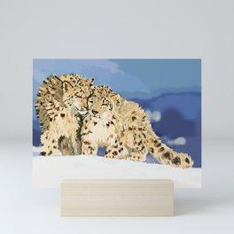 Snow leopards Mini Art Print