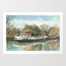 Rosa on the Grand Union Canal Art Print