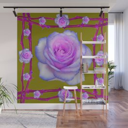 PINK-BLUE TINGED ROSES ON KHAKI COLOR Wall Mural