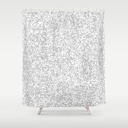 Tiny Spots - White and Silver Gray Shower Curtain