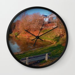 Romantic bench at the pond   waterscape photography Wall Clock