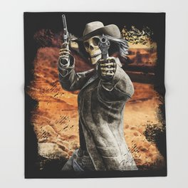 LETS DANCE Skeleton Western Gunslinger Cowboy Print Throw Blanket