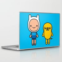 finn and jake Laptop & iPad Skins featuring #48 Jake and Finn by Brownjames Prints