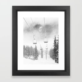 Ski Lift Moon Break // Riding the Mountain at Copper Colorado Luna Sky Peeking Foggy Clouds Framed Art Print