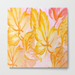 Soft Painterly Pastel Autumn Leaves Metal Print