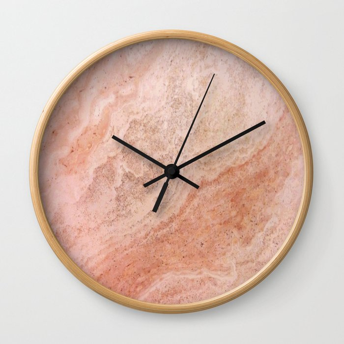 Polished Rose Gold Marble Wall Clock