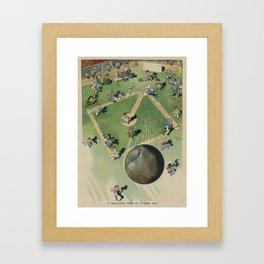 Vintage Baseball Home Run - Birds Eye View Illustration Framed Art Print