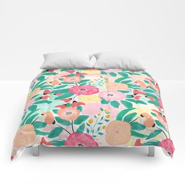 Modern brush paint abstract floral paint Comforters