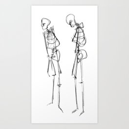 Black Ink Illustration of Two Human Skeletons Art Print