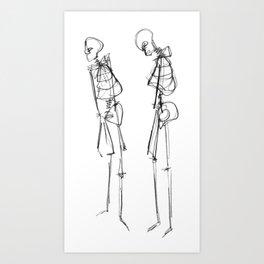 Black Ink Illustration of Two Human Skeletons Art Print