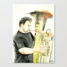 Playing the tuba II Canvas Print