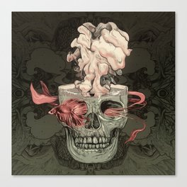 Red Fish and Smokey Skull Canvas Print