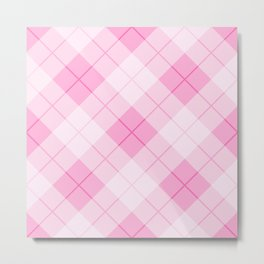 Pink Plaid Pattern Metal Print