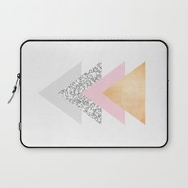 Geometric Triangles - Gold Pink and Marble Laptop Sleeve
