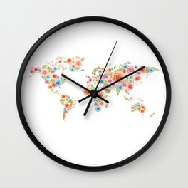 Watercolor Flower World Wall Clock