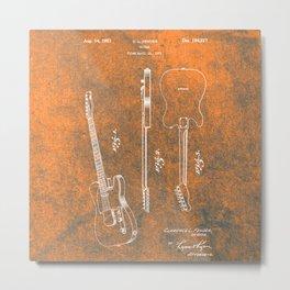 Orange Guitar Metal Print