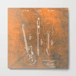 Orange Guitar Metal Print