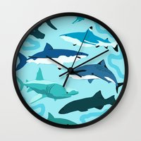sharks Wall Clocks featuring Sharks by Raffles Bizarre