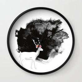 YOUNG DEER WITH FLOWER CROWN Wall Clock