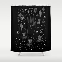 dreams Shower Curtains featuring SPACE DREAMS by Kris Tate